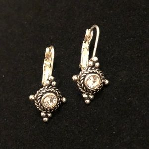 Costume Silver Dangle Earrings with Faux Diamond